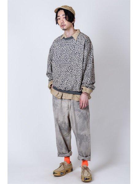 Kapital Grandrelle Fleece Knit TAKO-Arabesque BIG Crew SWT - Charcoal