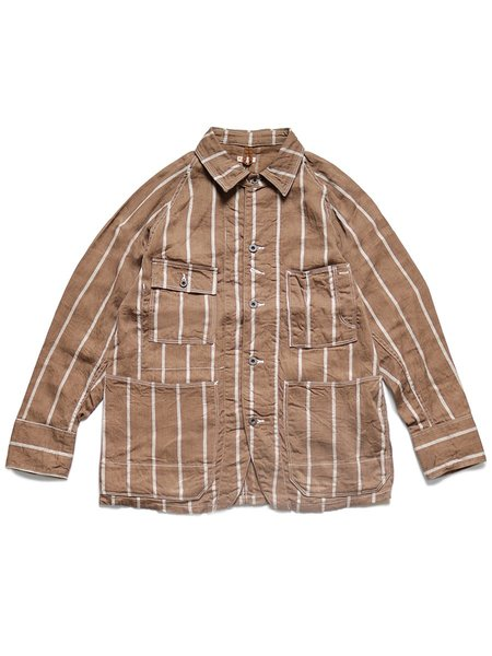 Kapital Linen PHILLIES Stripe CACTUS Coverall top - Brown