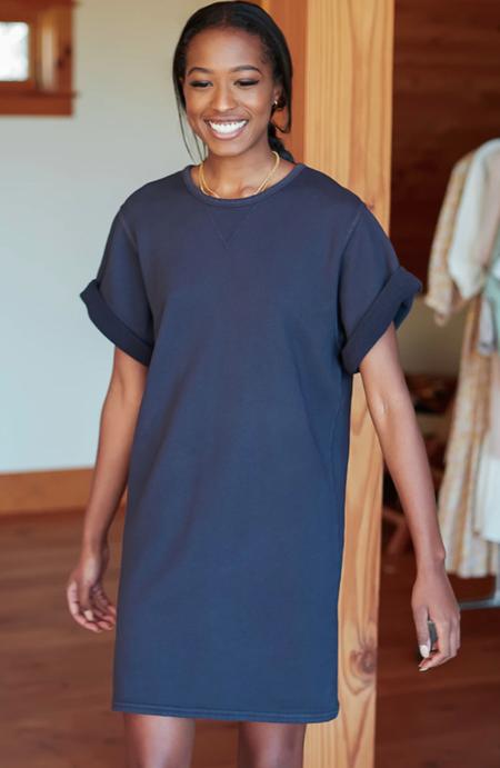 Emerson Fry Organic Shorty Sweatshirt Dress - Washed Black