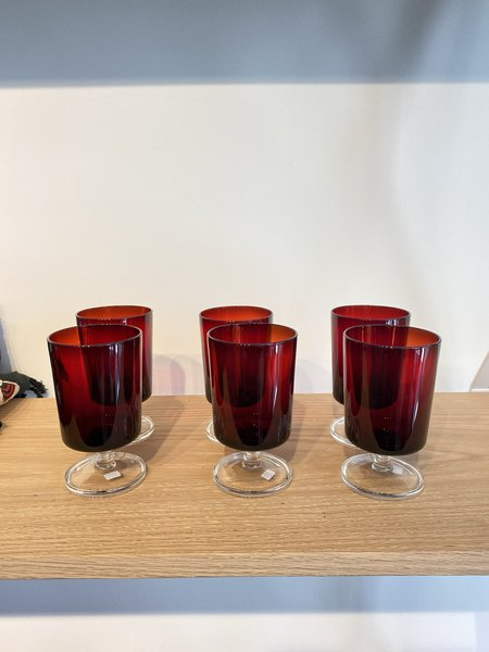 vintage Alchemy Works large 6 piece glass set - red