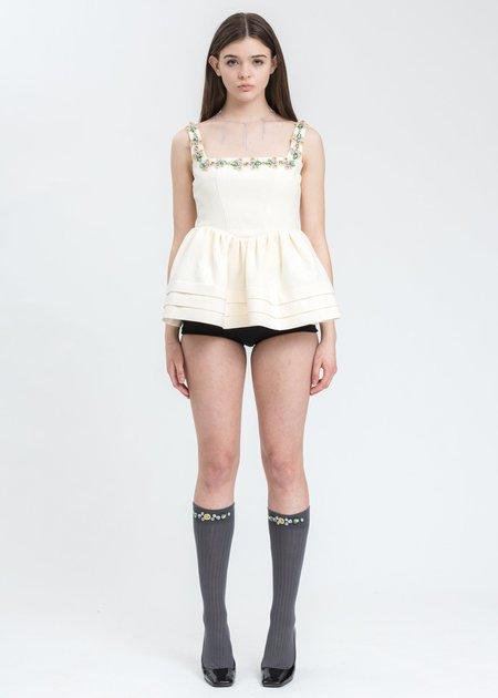 Shushu/Tong  Ruffle Top - White