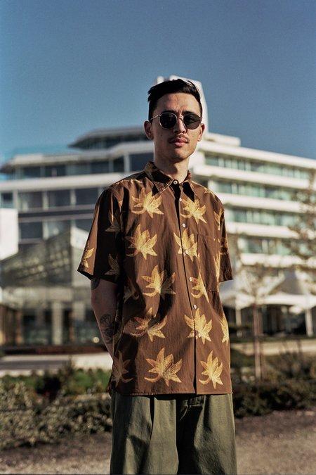 Universal Works Lotus Print Big Pocket Shirt - Brown