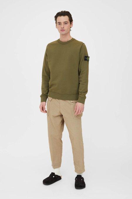 Stone Island Cotton Fleece Garment Dyed Crew Neck Sweatshirt - Olive