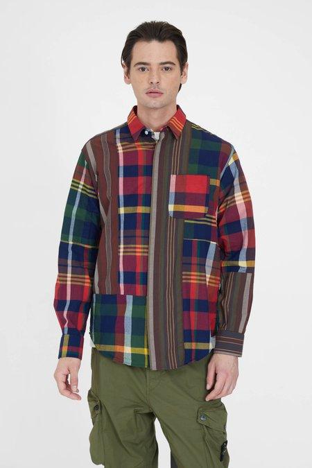 Engineered Garments Cotton Combo Short Collar Shirt - Red/Navy Big Madras Plaid