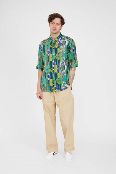 TS(S) Retro Flower Print Side Pocket BD Shirt - Green Indian