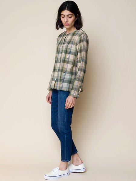 Folk Clothing Collarless Shirt - Green/Ochre