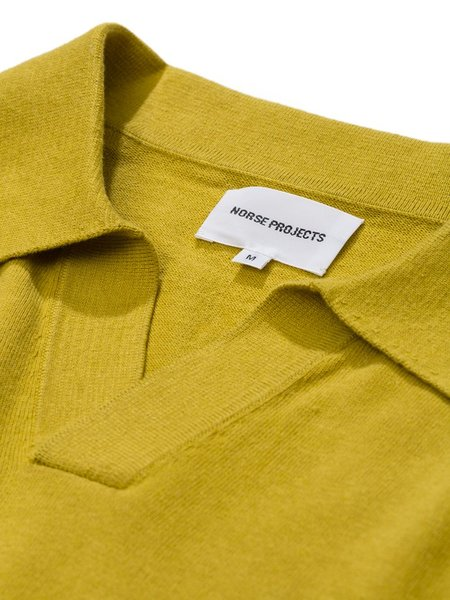 Norse Projects Leif Cotton Linen Polo - Chartreus Green