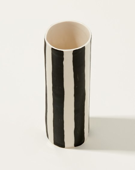 Isabel Halley Tall Vase - Black/White Stripes