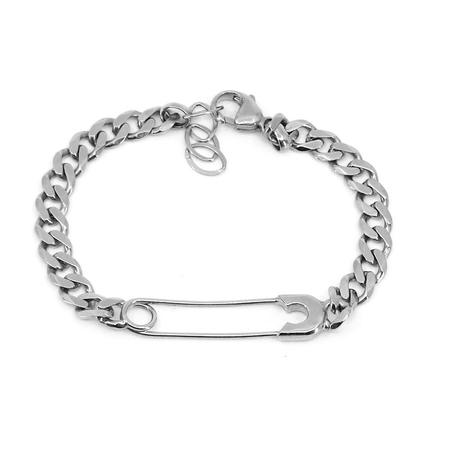 Godfrey and Rose Large Safety Pin Bracelet - Silver Rhodium/White Sapphire