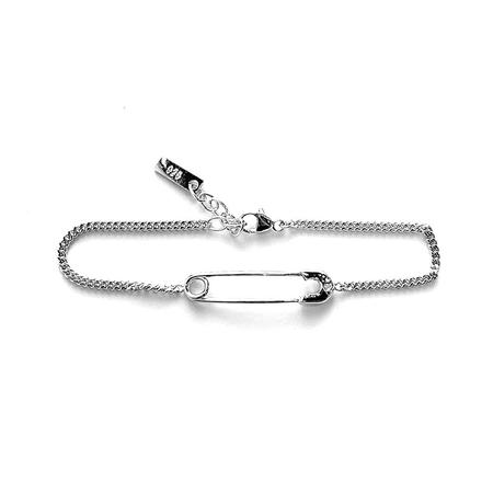 Godfrey and Rose Small Safety Pin Bracelet - Rhodium w/White Sapphire