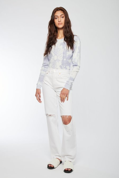 RE/DONE 90s High Rise Loose Denim - WHITE WITH RIPS