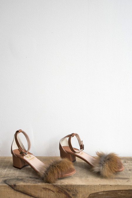 Brother Vellies Dhara Tufted Sandal in Whiskey