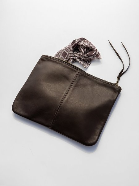 Erica Tanov elke leather zip clutch - chocolate