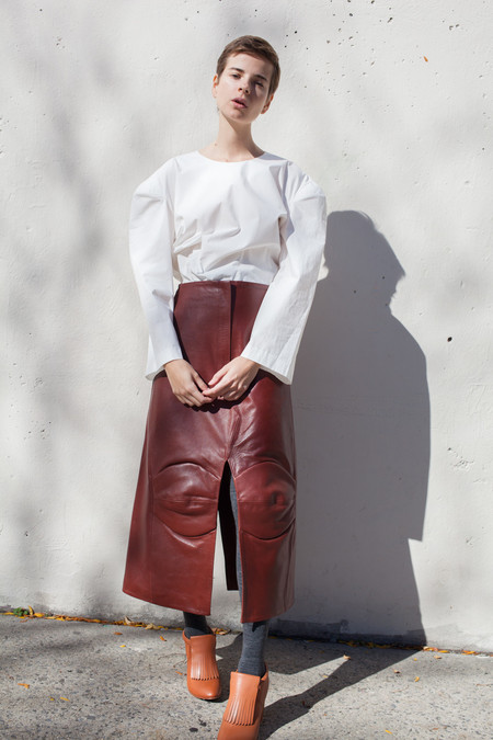 A Détacher Gertrude Skirt in Russet Leather