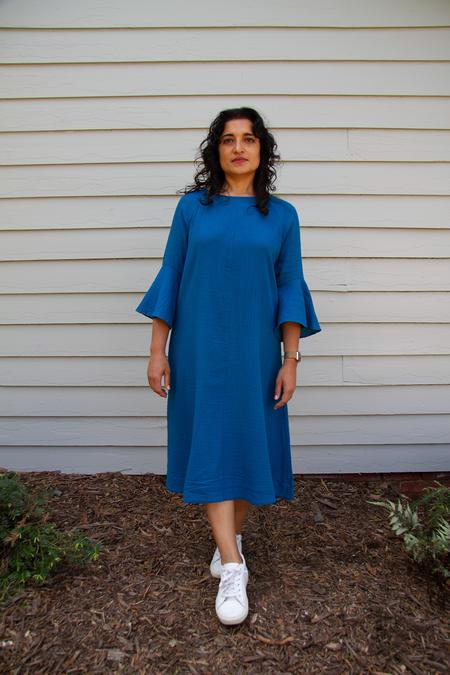 Bhoomki Cascade Dress - Laguna Blue