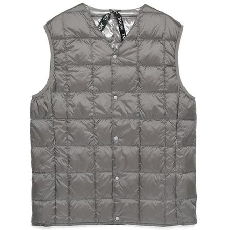 Taion V Neck Button Down Vest - Gray