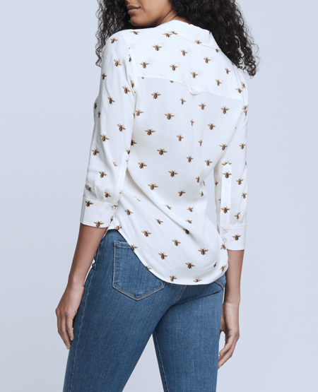 L'agence Camille 3/4 Sleeve Blouse - Ecru/Gold
