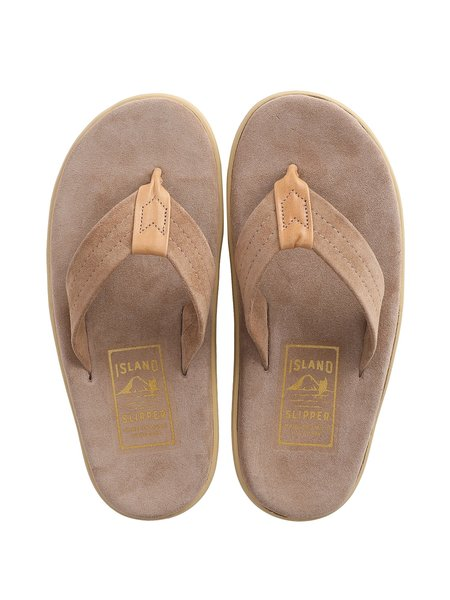 Island Slipper Suede with Leather Thong Sandal - TAUPE SUEDE/TAN