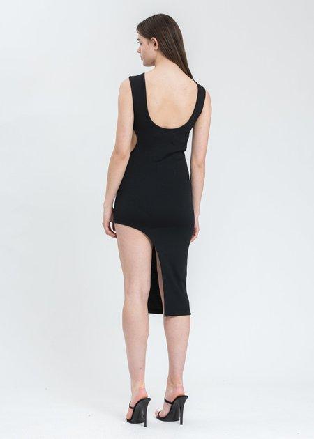 Feng Chen Wang Jersey Double Collar Dress - Black