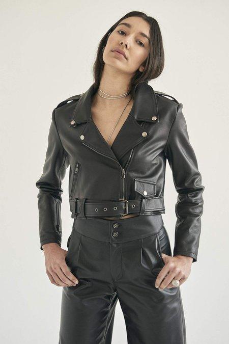alyson eastman Crop Moto Jacket - Black