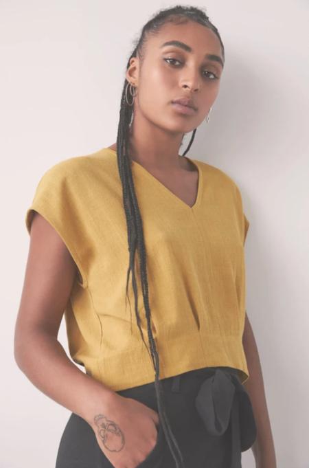 Eve Gravel Mercure Top - Saffron