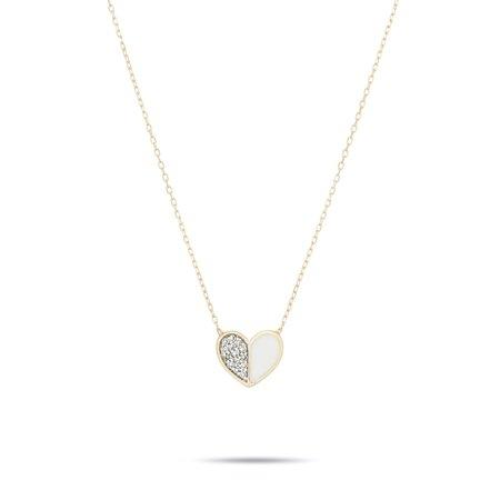Adina Reyter Ceramic Pavé Folded Heart Necklace - 14k yellow gold/white