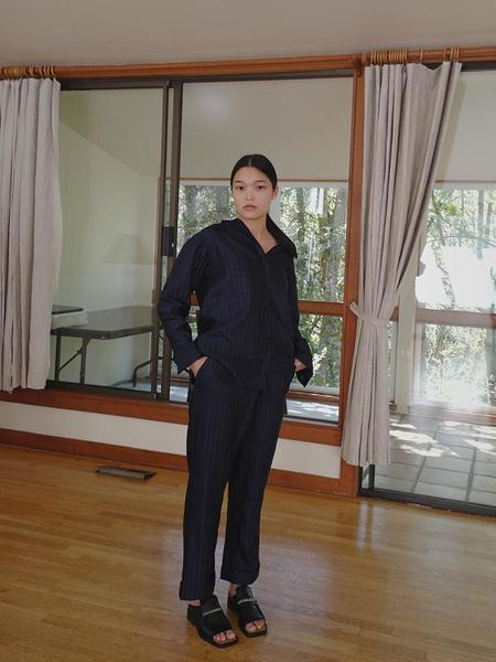 A--Company Overlapping Relaxed Cuffed Trouser - Indigo Stripe