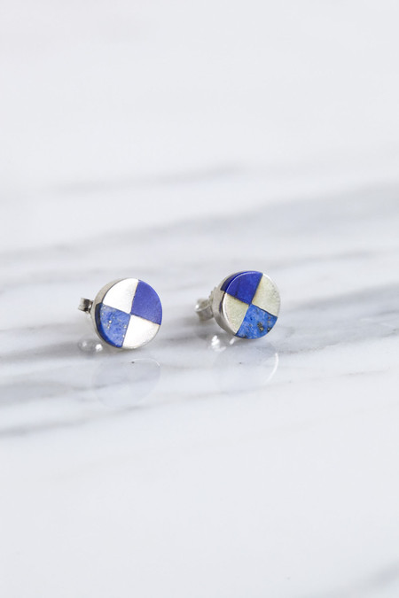 Ursa Major Ray Studs in Silver & Lapis