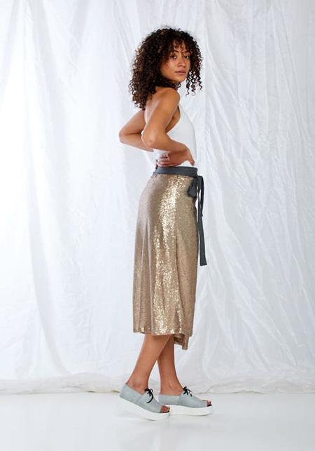 Karien Belle Wrap Sequin Disco Skirt - yellow