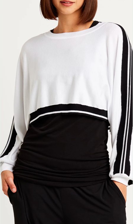 Planet Cropped Cotton Striped Sweater