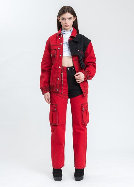 Feng Chen Wang Levi's Edition Twill Oversized Jacket - Red