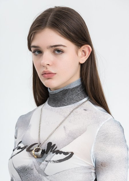 Feng Chen Wang Steel Ring Necklace - silver