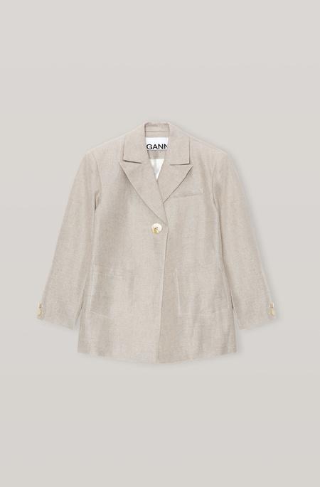 Ganni Linen Blazer - Natural