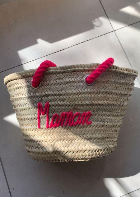 Marrakech shop design Maman market tote - natural/pink