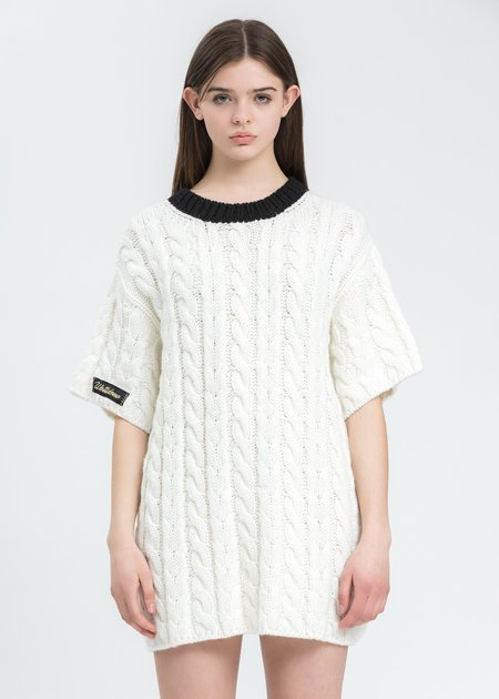 we11done Short Sleeve Cable Sweater - White