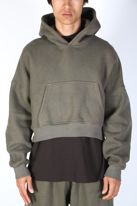 Sebastien Ami CROPPED HOODIE sweater - MUD DYE