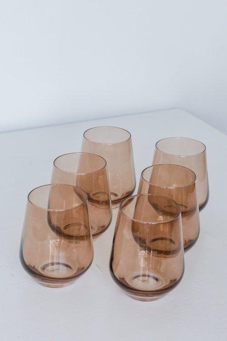 Estelle Colored Glass Stemless Wine Glasses - Amber Smoke