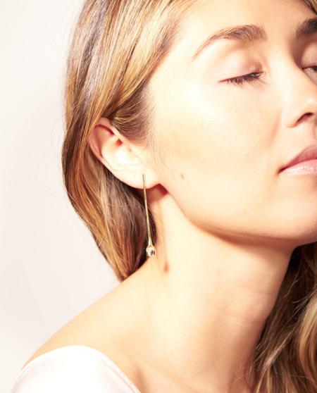 Odette New York Rose Quartz Klint Earrings - Brass