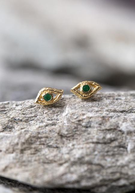 JACQUELINE ROSE Eye of Horus Studs - 14KT Gold/Emerald