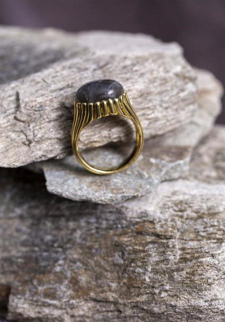 JACQUELINE ROSE Ridge Ring - Gold Plated Sterling Silver/Labradorite