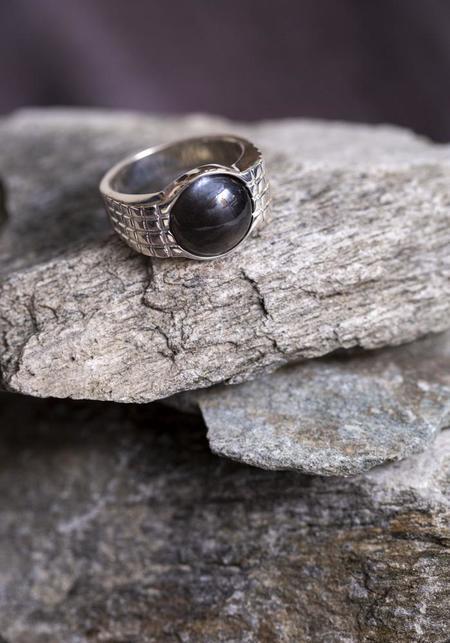 JACQUELINE ROSE Lattice Ring - Sterling Silver/Black Moonstone