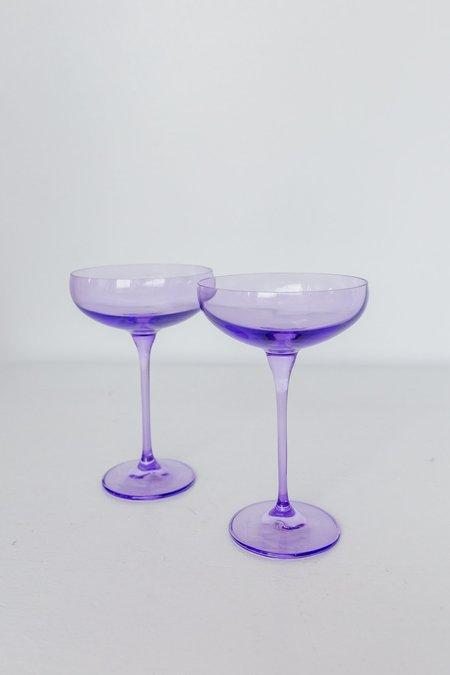 Estelle Colored Glass Coupe Glasses - Lavender