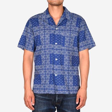 Momotaro Jeans Bandanna Print Vacation S/S Shirt - Blue