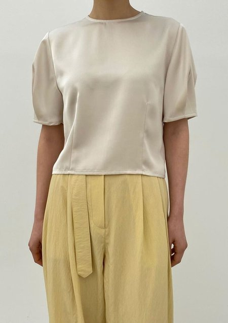 W A N T S Short Sleeves Silk Blouse - Cream