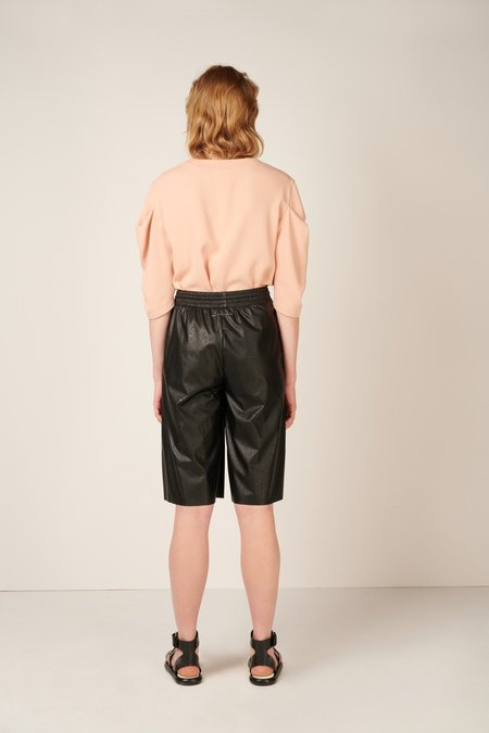 Studio Avra Faux-leather Knee-length Shorts - Black
