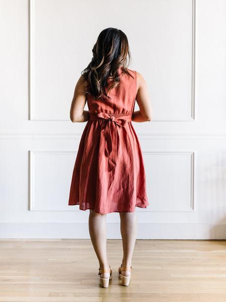 The Korner Tie Front Dress - Brick