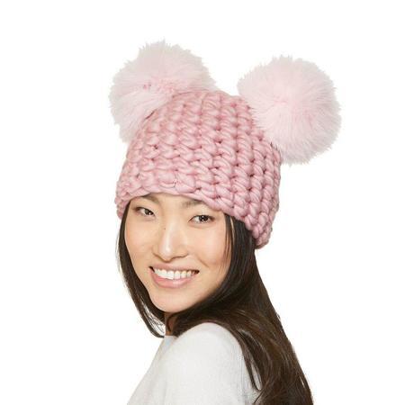 Mischa Lampert XL poms mickey beanies - dusty rose/baby pink
