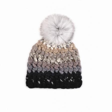 Mischa Lampert XL  pomshade stripe beanie  - White/Black