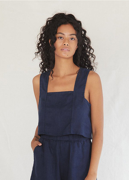 Sugar Candy Mountain Pansy Top - Navy