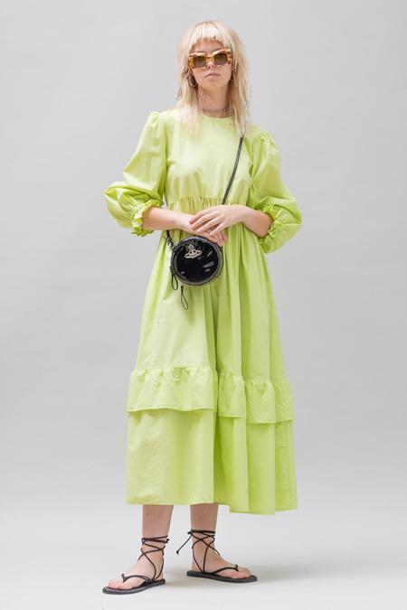 Toit Volant Muumuu Tier Ruffle Dress - Starfruit Lime
